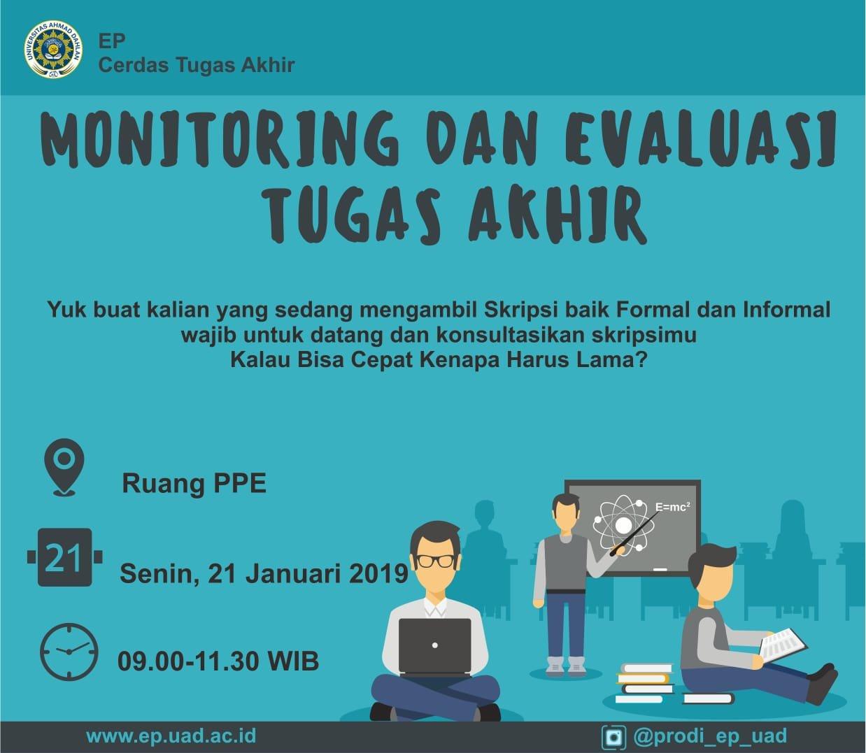 Monitoring dan Evaluasi Tugas Akhir Semester Gasal 2018/2019