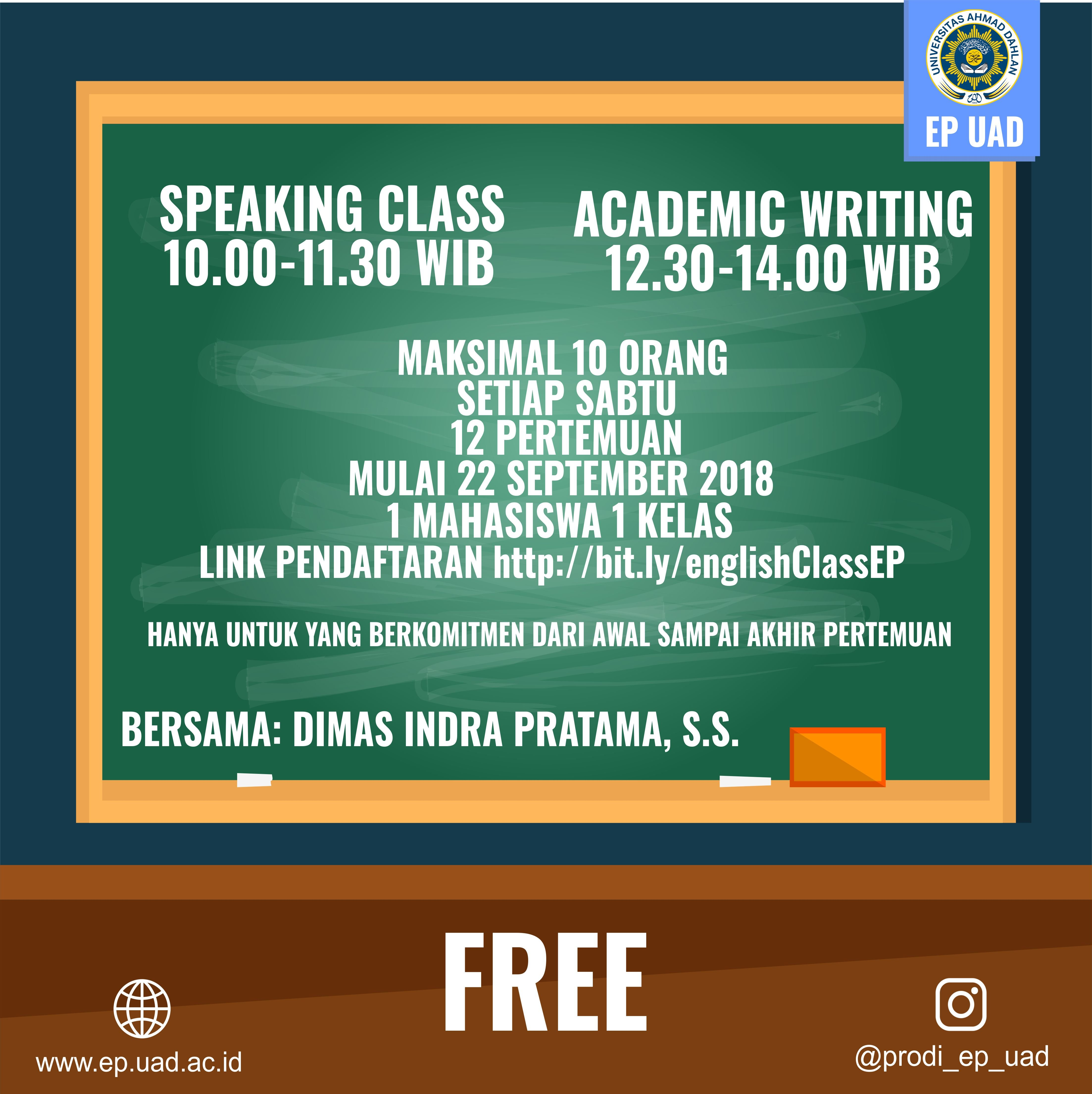 English Class Program Studi Ekonomi Pembangunan