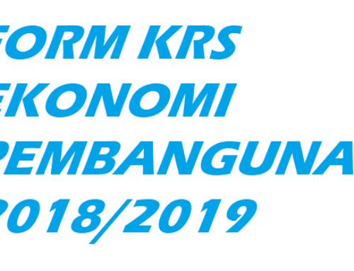 Form KRS Ekonomi Pembangunan 2018/2019